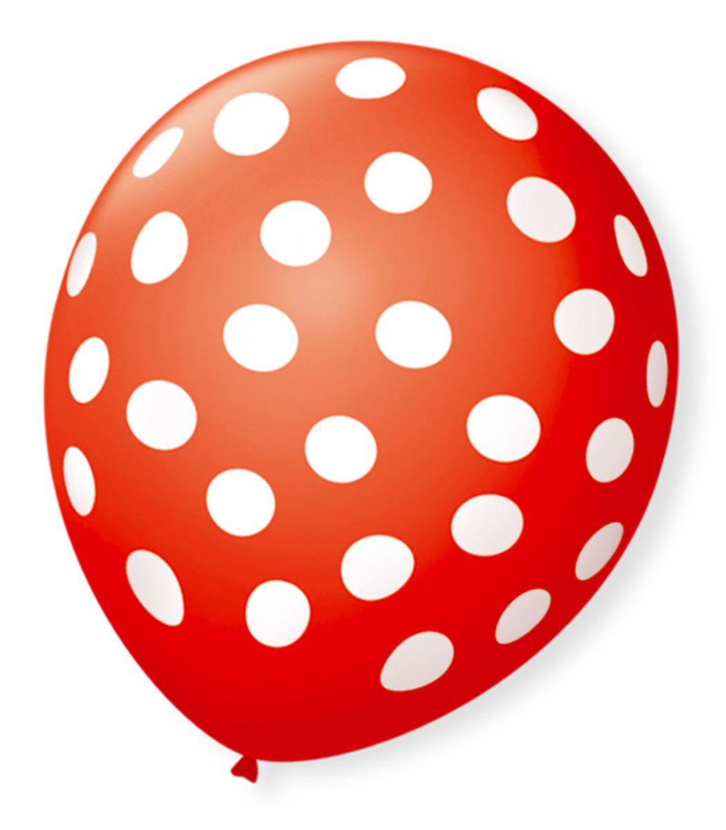 Balão São Roque Póa N°9 C/25un Vermelho Quente Com Bolinha Branca