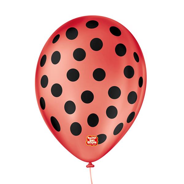 Balão São Roque Póa N°9 C/25un Vermelho Quente Com Bolinha Preta