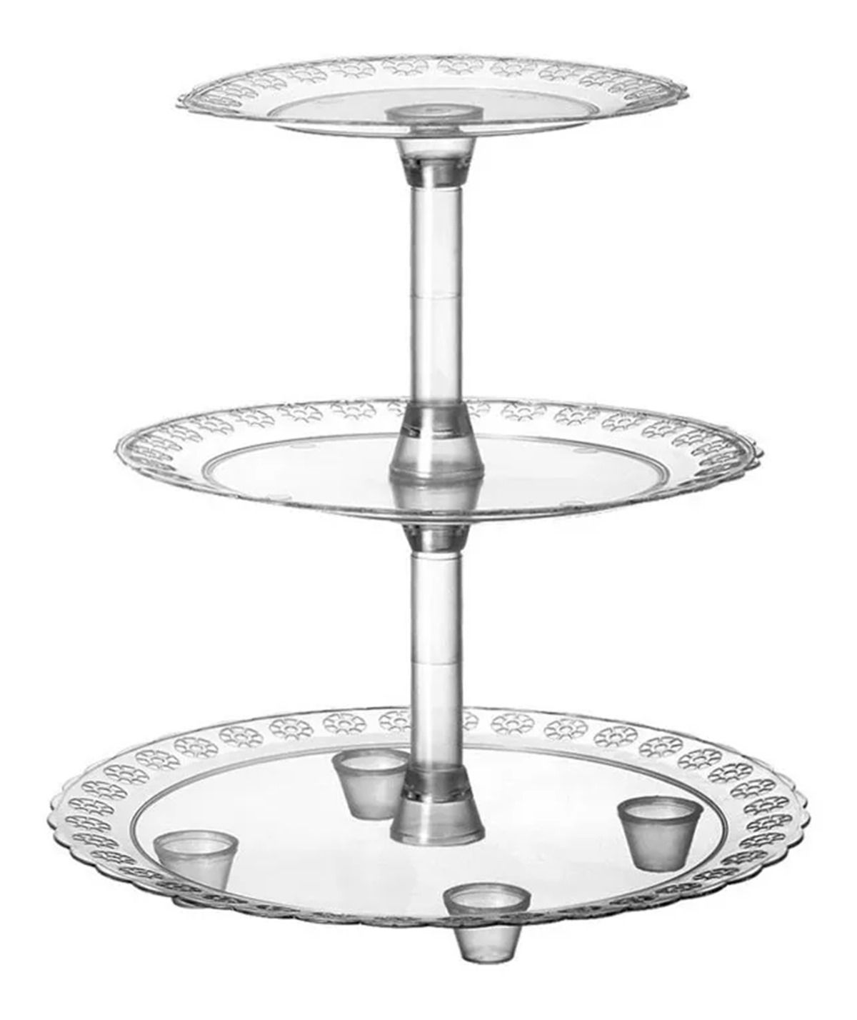 Baleiro 3 Andares Acrílico Cristal - Três Triangulo