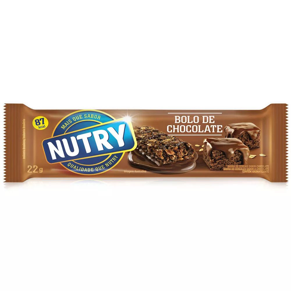 Barra De Cereais Nutry Bolo De Chocolate 22gr C/24 - Nutrimental
