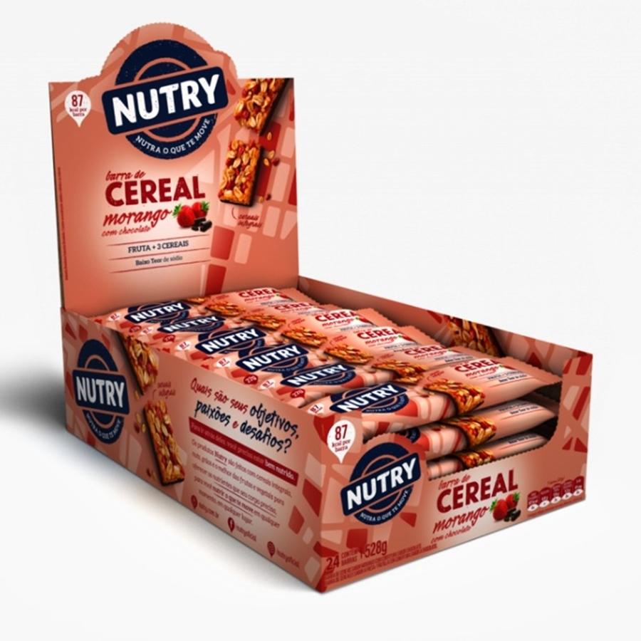Barra De Cereais Nutry Morango Com Chocolate 22gr C/24 - Nutrimental