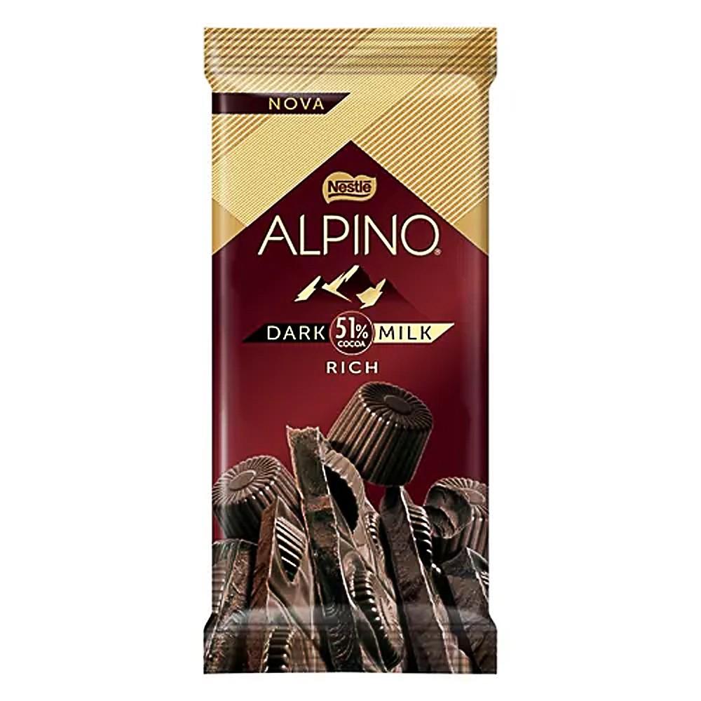 Barra De Chocolate Alpino 51% Dark Milk Rich 85g - Nestlé
