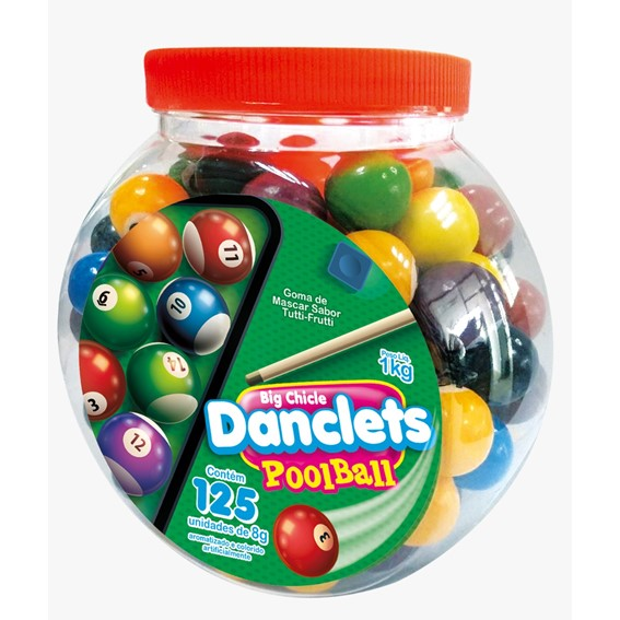 Chiclete Danclets Pool Ball c/125un 8gr - Danilla