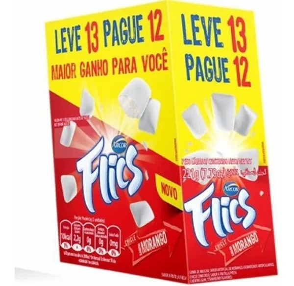 Chiclete Flics Morango c/12 - Arcor