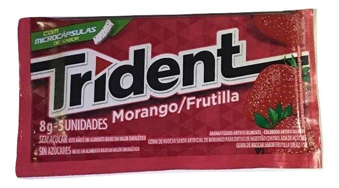 Chiclete Trident Morango 8gr C/21 - Adams