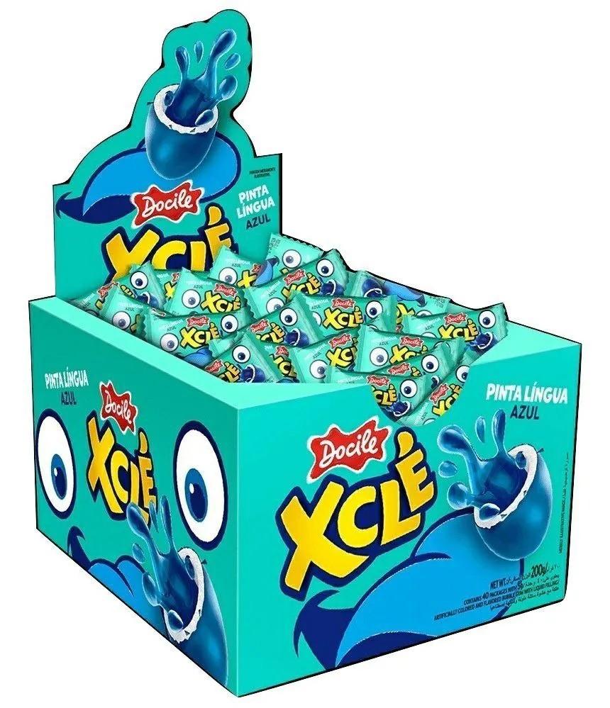 Chiclete Xclé Pinta Lingua Azul Tutti-Frutti C/40un - Docile