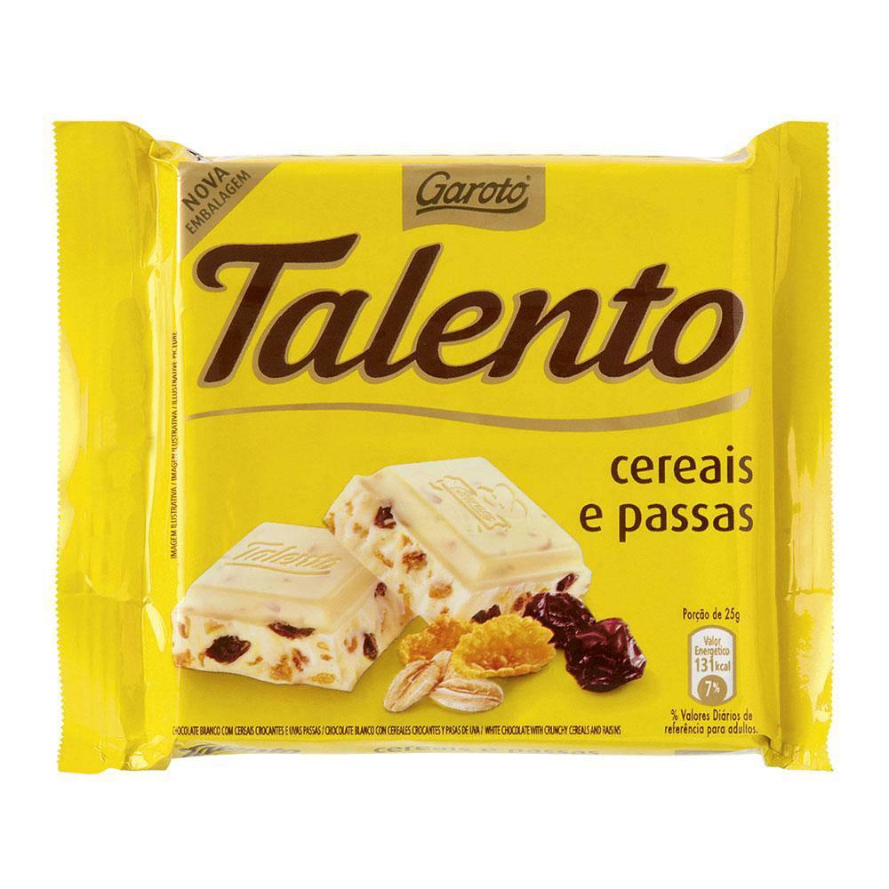 Chocolate Branco Mini Talento Amarelo Cereais E Passas 25Gr C/15 - Garoto