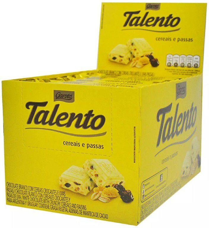 Chocolate Tablete Talento Recheado Cereais e Passas 90gr C/12 - Garoto