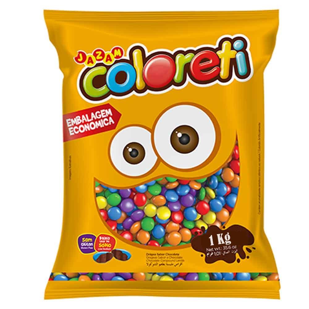 Chocolate Confeito Coloreti Sortido 1kg - Jazam