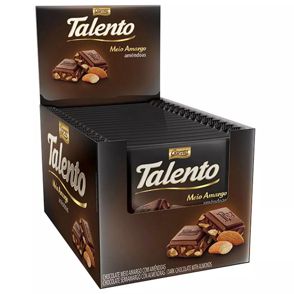 Chocolate Tablete Talento Recheado Amêndoas 90gr C/12 - Garoto