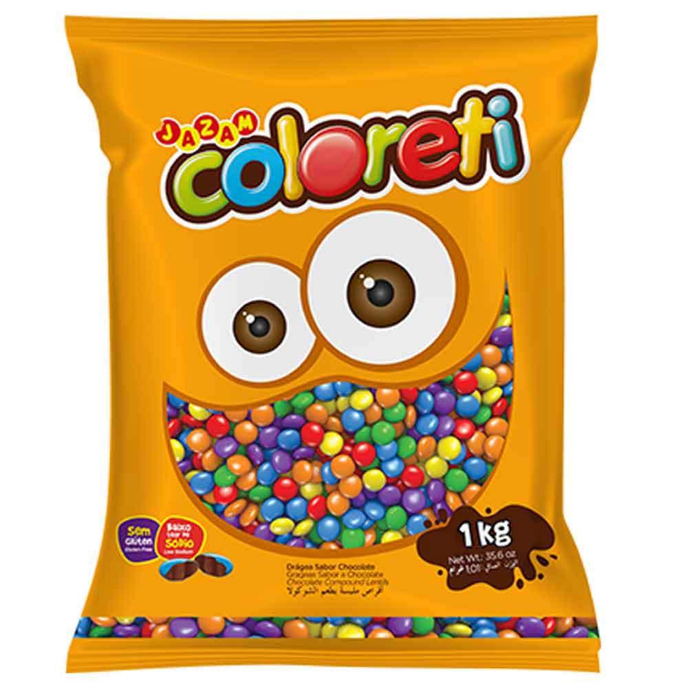 Chocolate Mini Confeito Coloreti Sortido 1kg - Jazam