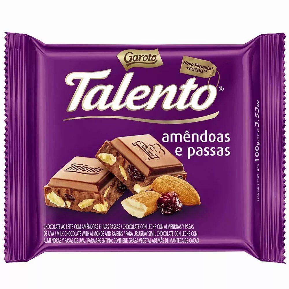 Chocolate Mini Talento Roxo Amêndoas E Passas 25Gr C/15un - Garoto