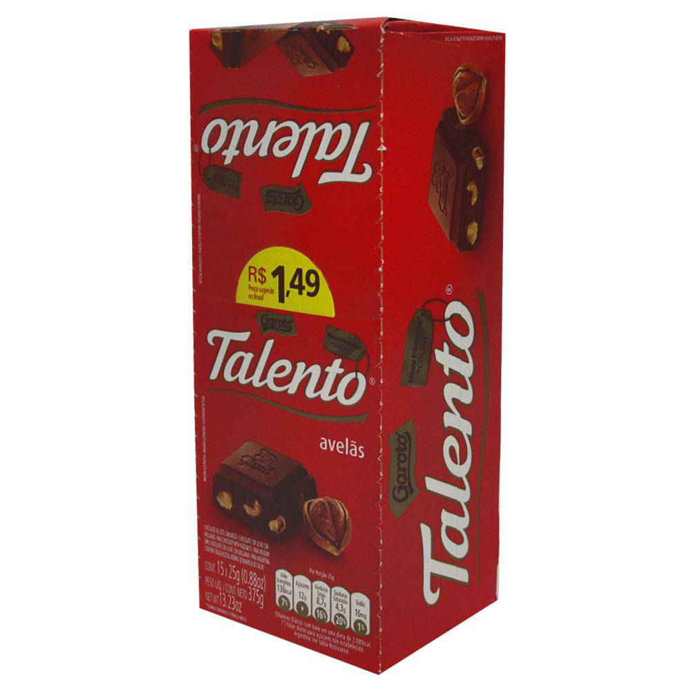 Chocolate Mini Talento Vermelho Avelãs 25Gr C/15un - Garoto