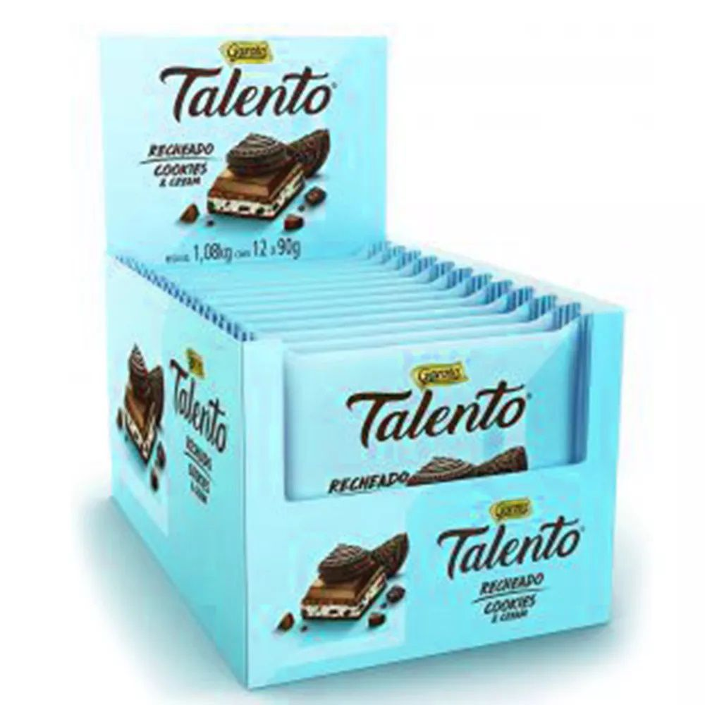Chocolate Tablete Talento Recheado Cookies e Cream 90gr C/12 - Garoto