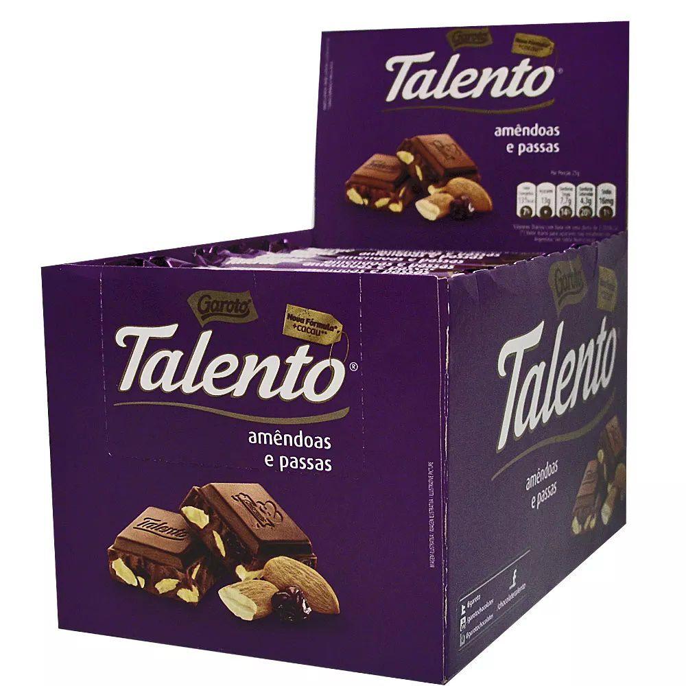 Chocolate Tablete Talento Roxo Amêndoas e Passas 90Gr C/12un - Garoto