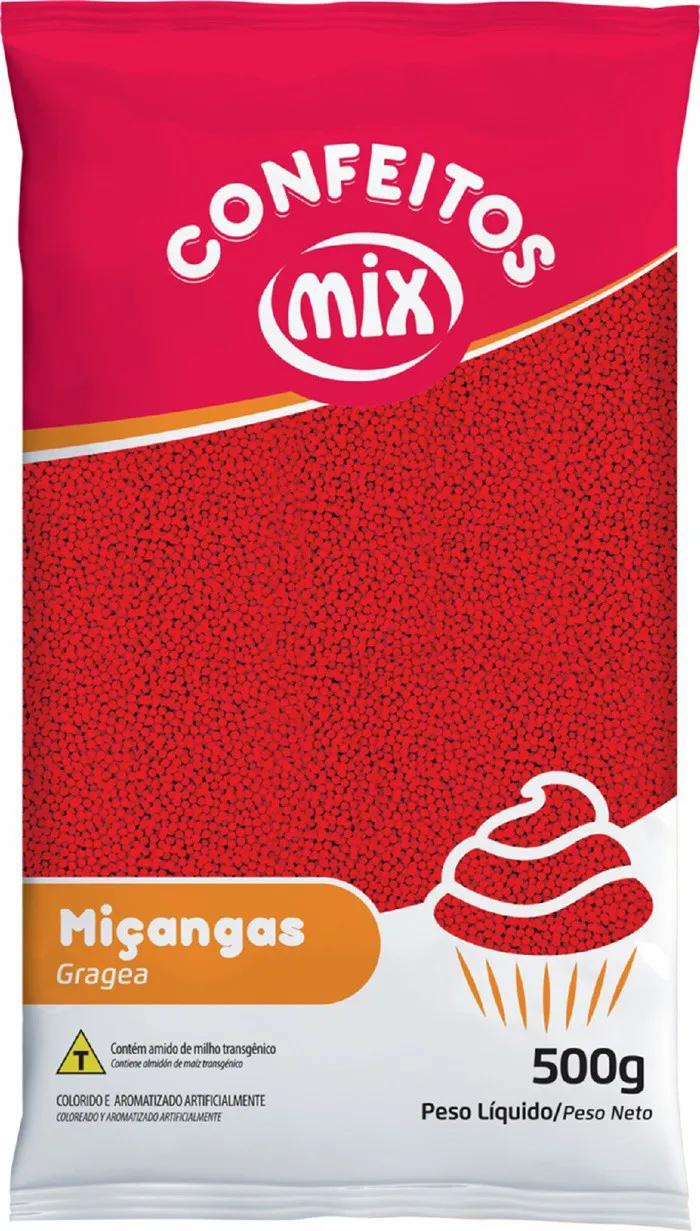 Confeito Miçanga Vermelho 500g - Mix Granulado