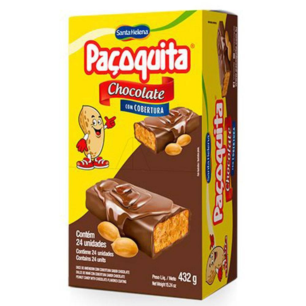 Paçoca Coberta Com Chocolate Paçoquita 18gr C/24un - Santa Helena