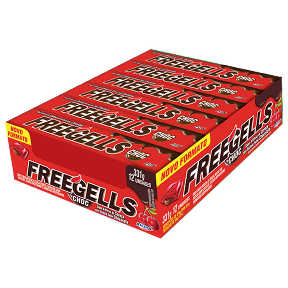 Freegells Drops Cereja com Chocolate c/12 - Riclan
