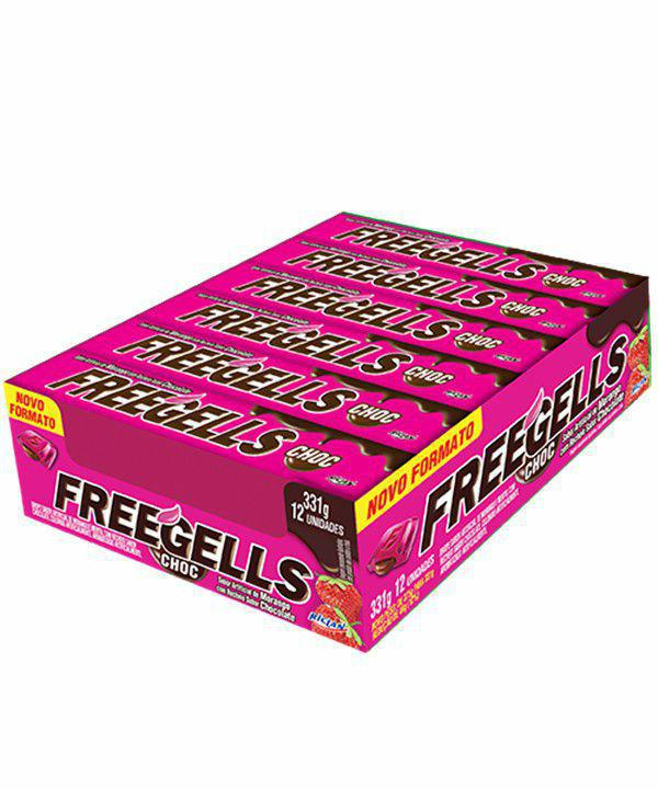 Freegells Drops Morango com Chocolate c/12 - Riclan