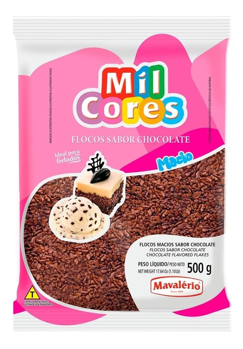 Granulado Confeito Flocos Macio Chocolate 500g - Mavalério