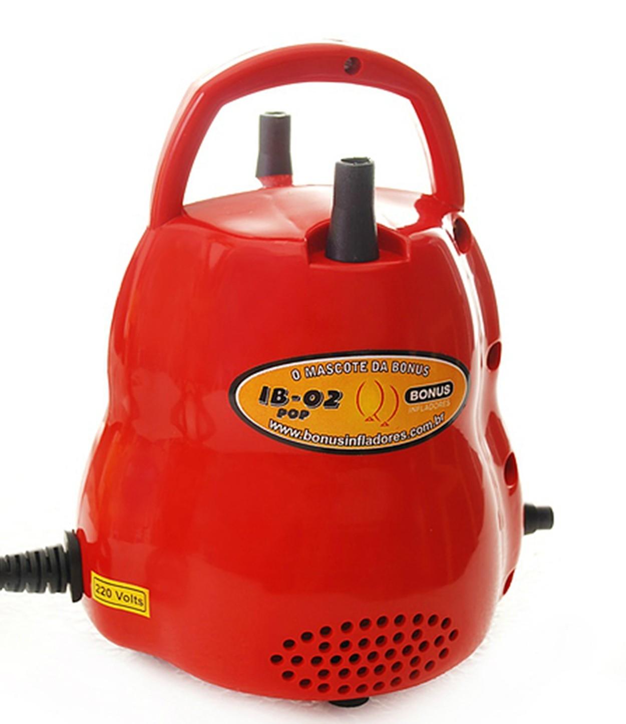 Inflador Compressor  Profissional De Balão Bexiga Canudo 2 Bicos - Bonus Inflado (Vermelho 110v)