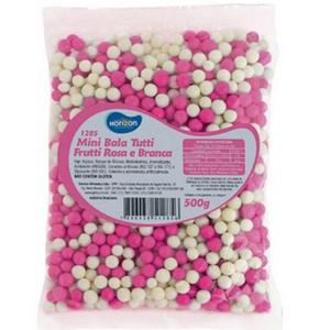 Mini Bala Confeito Horizon Rosa/Branca - 500gr