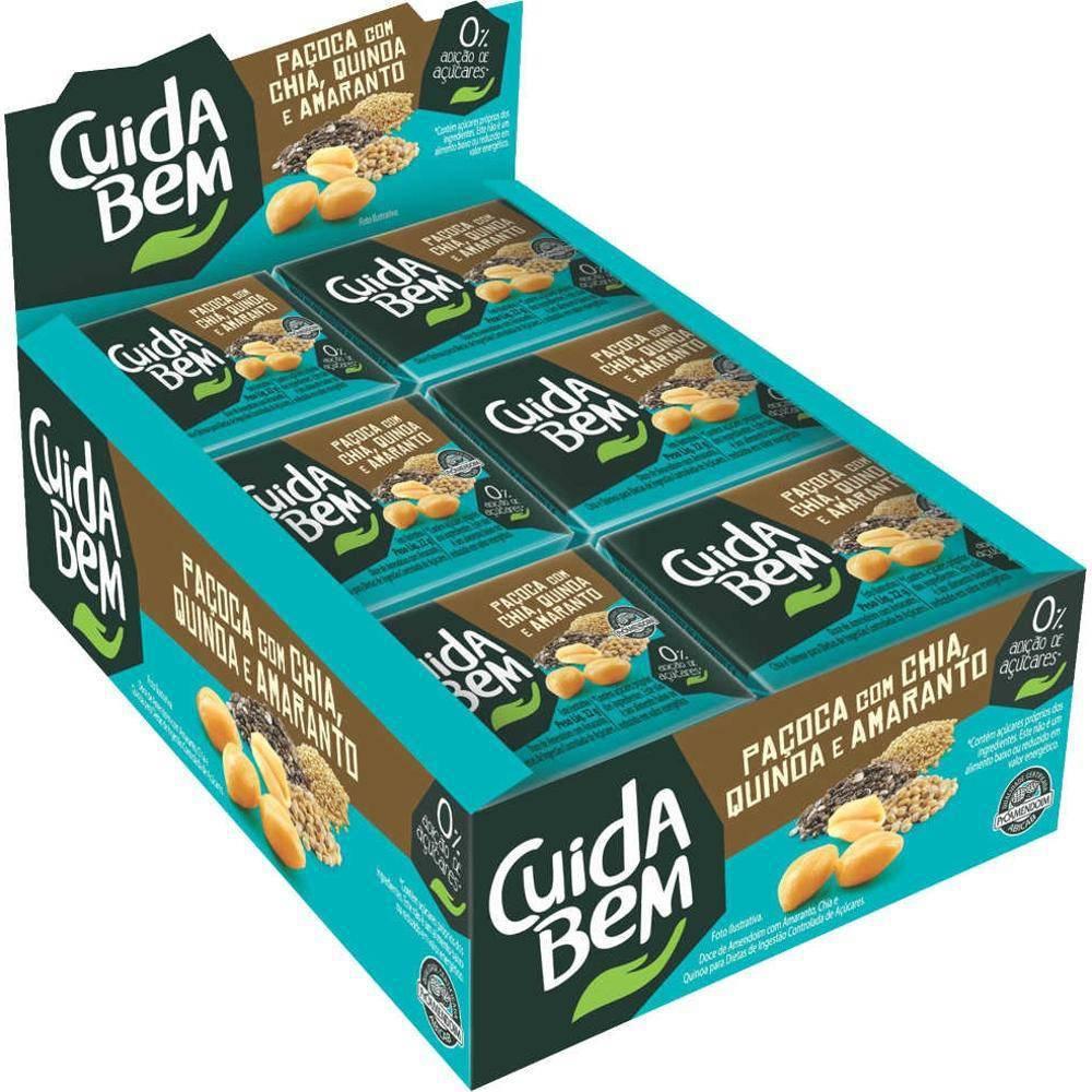 Paçoca Com Chia, Quinoa e Amaranto 18gr C/24un - Cuida Bem