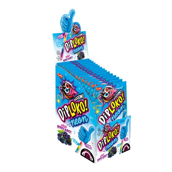 Pirulito Dip Loko Neon Wild Berry Burst 165g - Danilla
