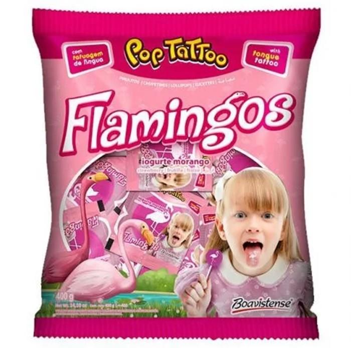 Pirulito Flamingos Iogurte Morango c/50un - Boavistense