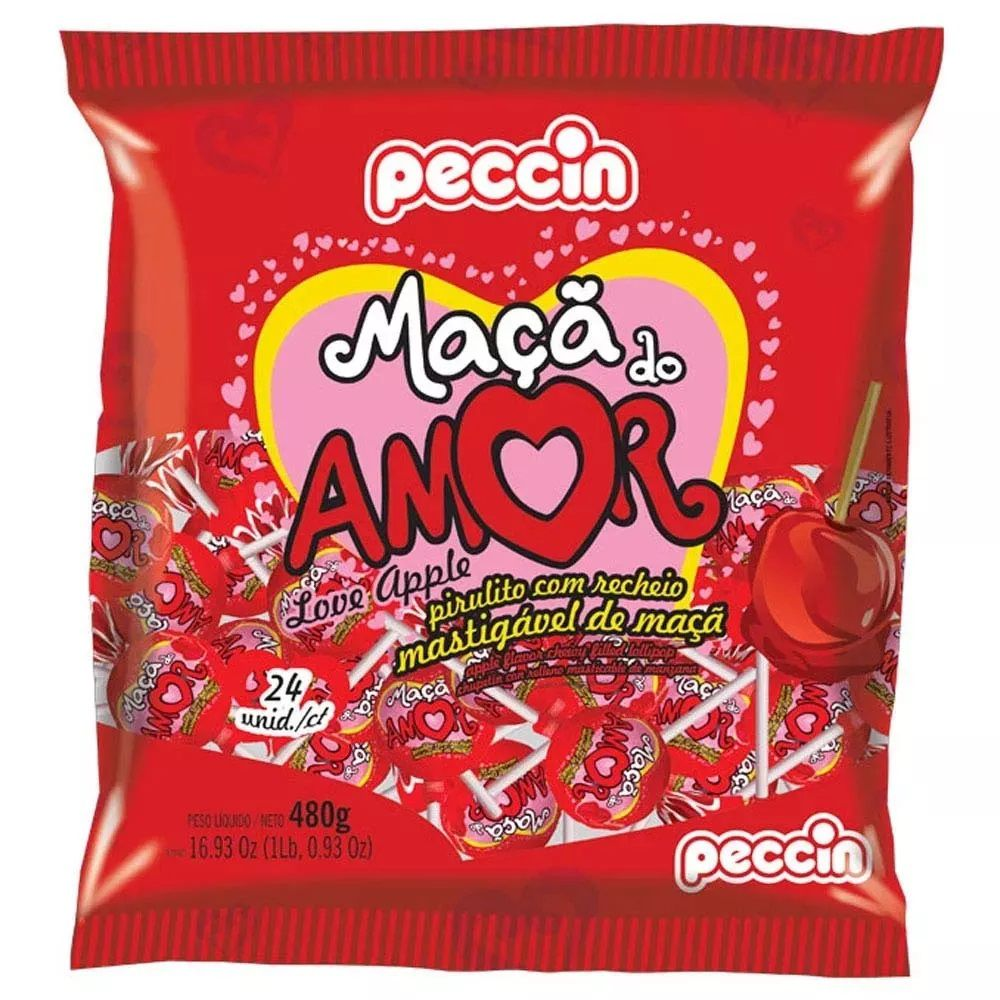 Pirulito Maçã Do Amor Tradicional C/24 480gr - Peccin