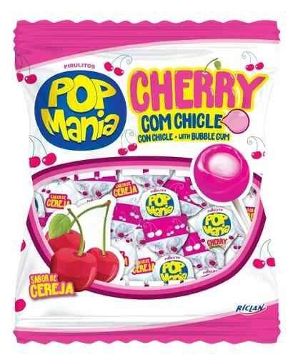 Pirulito Pop Mania Com Recheio Chiclete  Cherry (Cereja)
