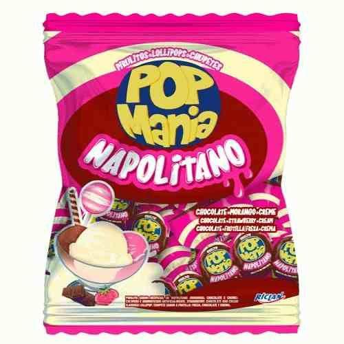 Pirulito Pop Mania Com Recheio Chiclete  Napolitano