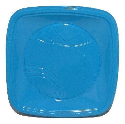 Prato Descartável Quadrado para Bolo Azul Claro 15cm c/10 - Trik Trik