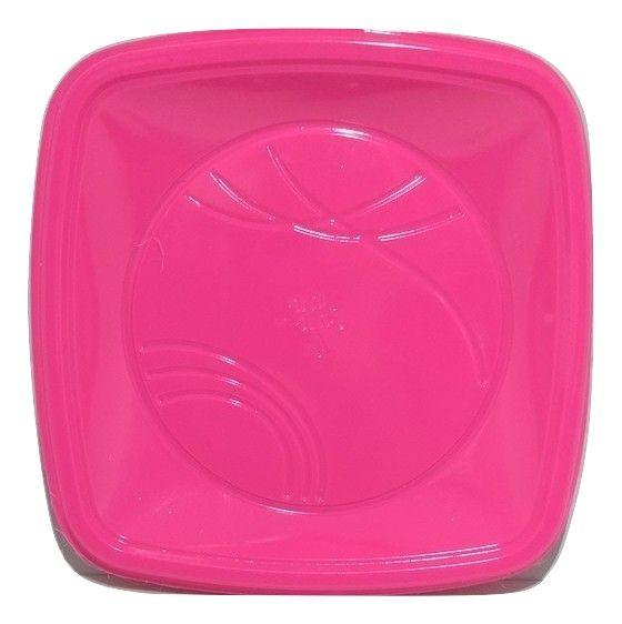 Prato Descartável Quadrado para Bolo  Pink 15cm c/10 - Trik Trik