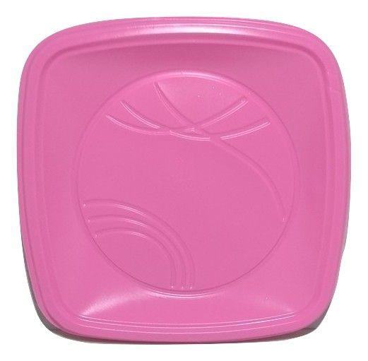 Prato Descartável Quadrado para Bolo Rosa 15cm c/10 - Trik Trik