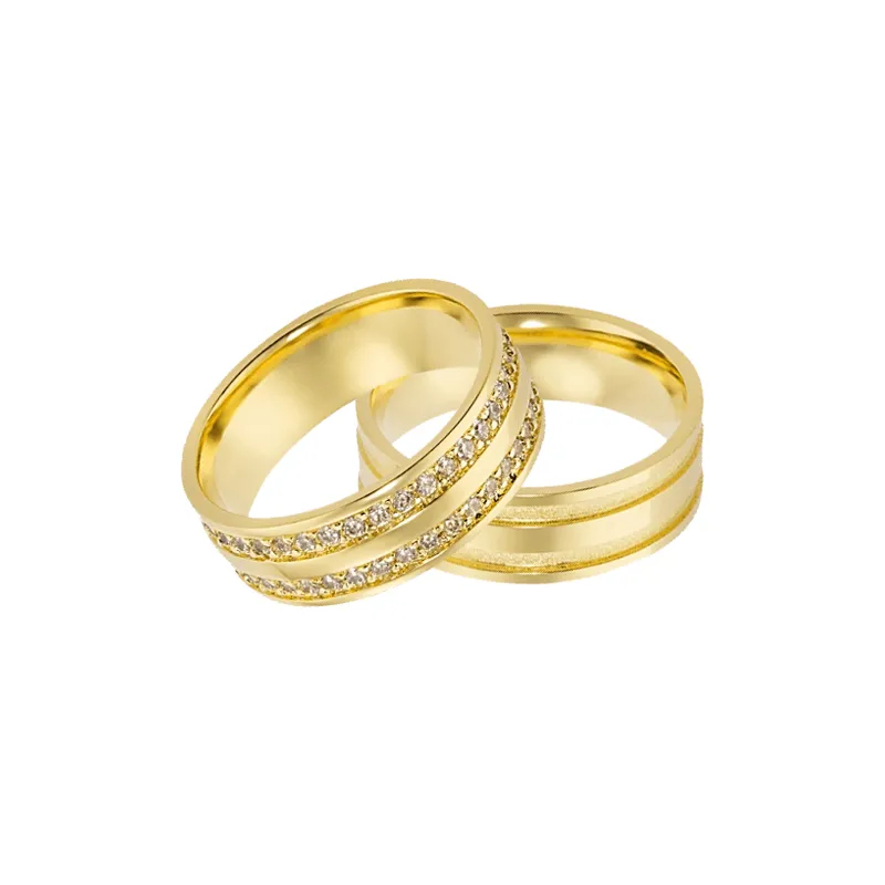 Aliança de Casamento Ouro Amarelo (Diamantes)