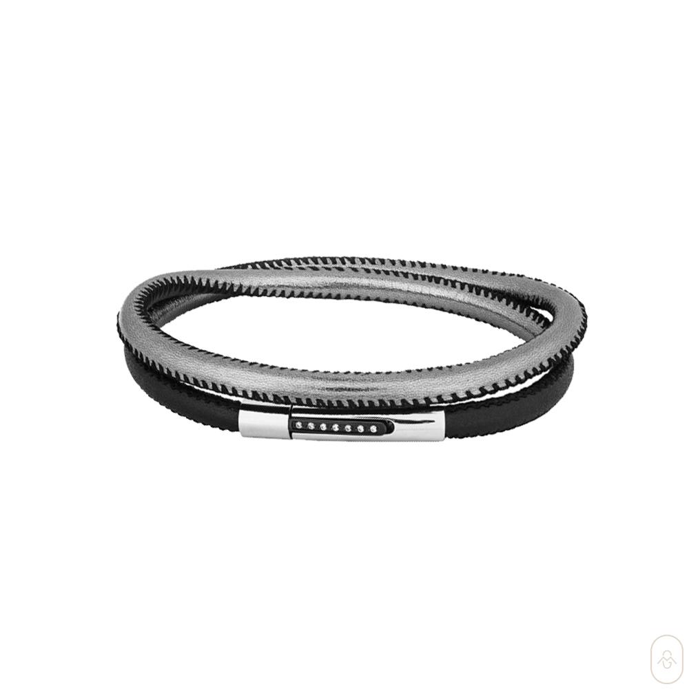 Pulseira Aço Duo Black e Silver IPB com Zircônia 5mm