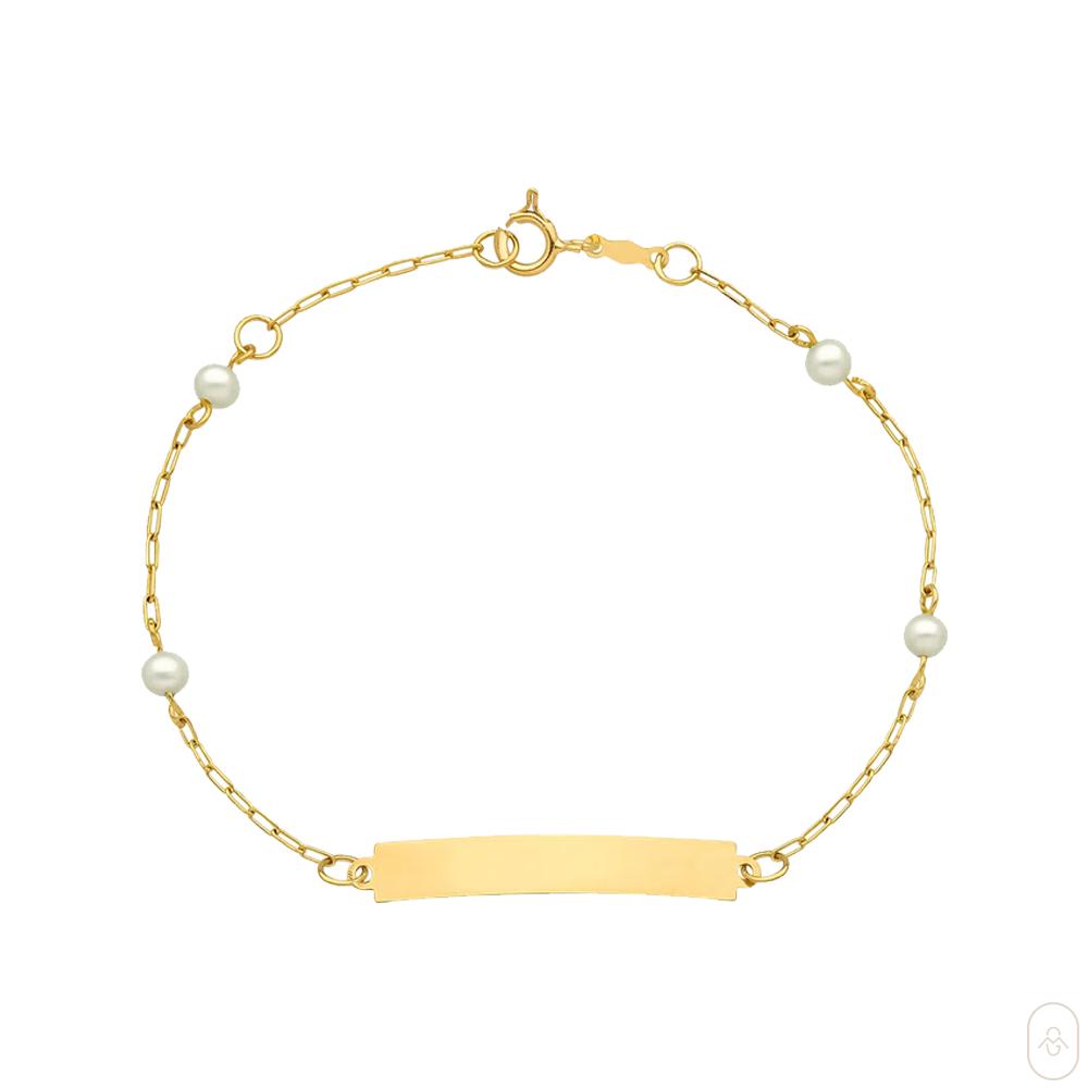 Pulseira Infantil Personalizável em Ouro Amarelo com Pérola