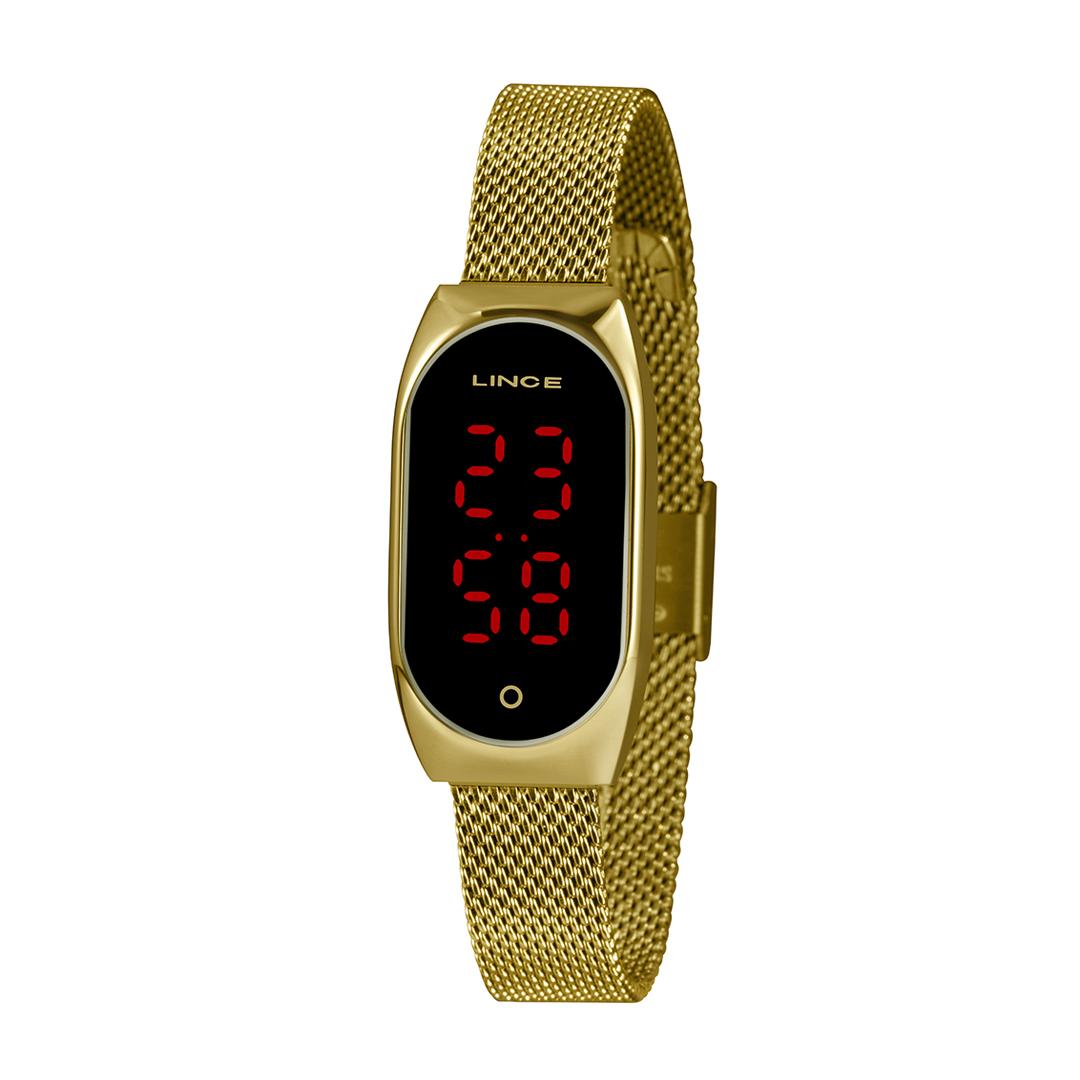 Relógio Lince Digital Dourado Feminino