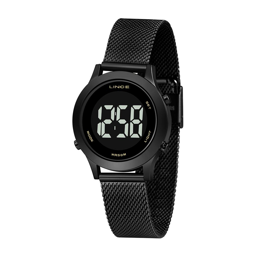 Relógio Lince Digital Preto Feminino