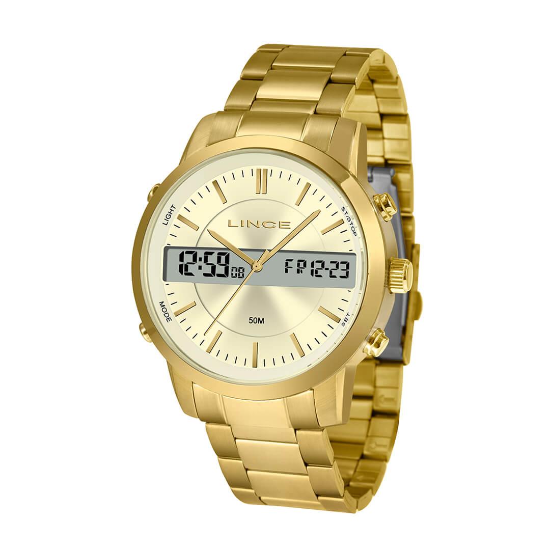 Relógio Lince Masculino Anadigi Dourado