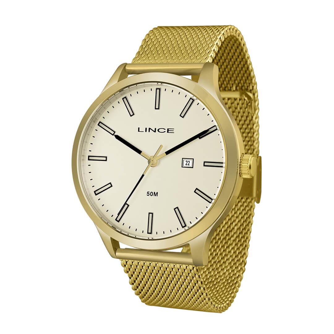 Relógio Lince Masculino Analógico Dourado MRG4494S