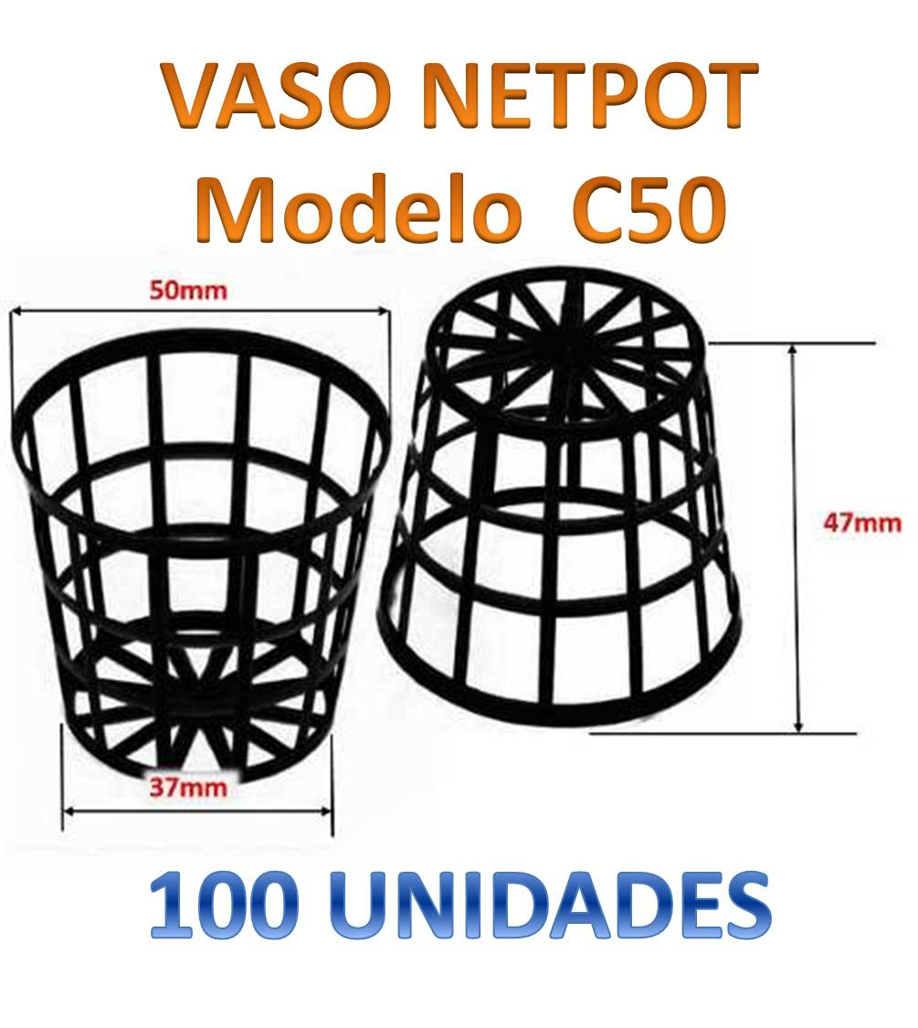 100 VASOS NETPOT CESTINHA C50