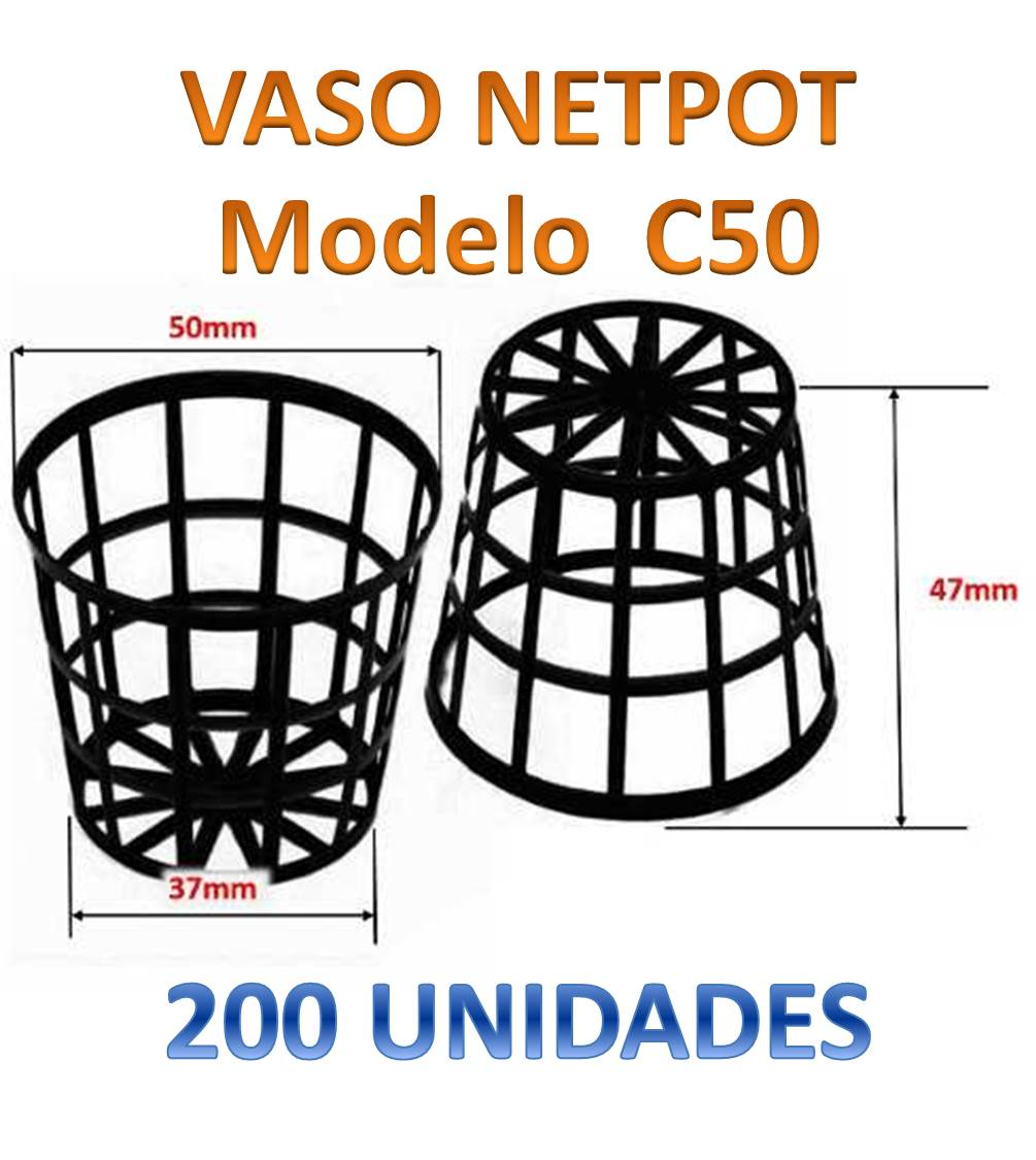 200 VASOS NETPOT CESTINHA C50