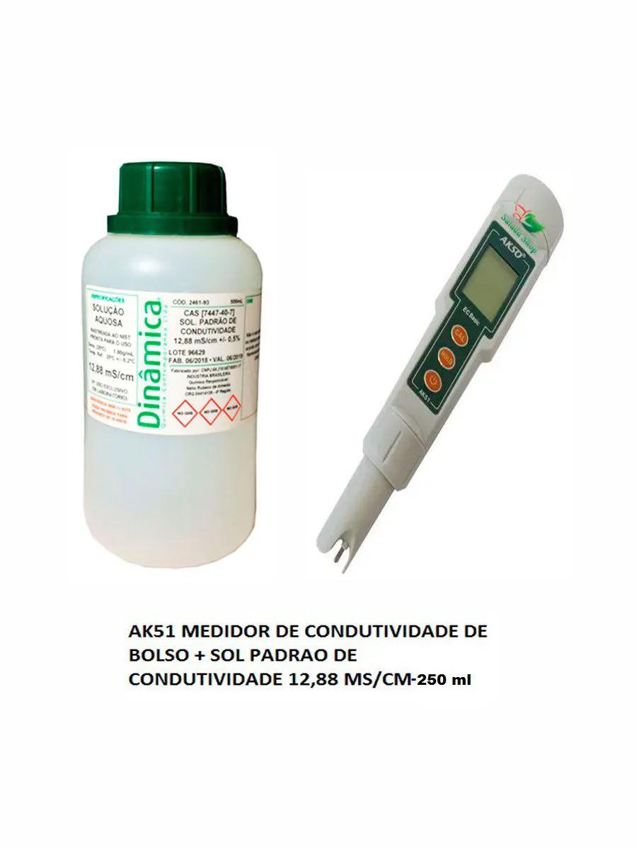 AK51 MEDIDOR CONDUTIVIDADE+ SOL CALIBRAÇÃO 12,88 MS/CM 250ML