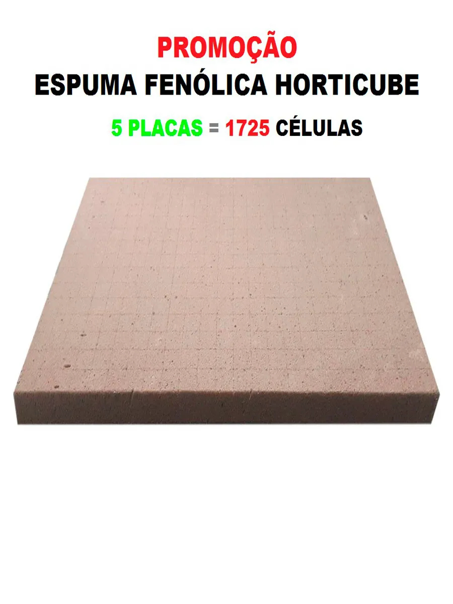 ESPUMA AGRICOLA HORTICUBE 2 X 2 X 2 cm SEM FURO - 5 PLACAS