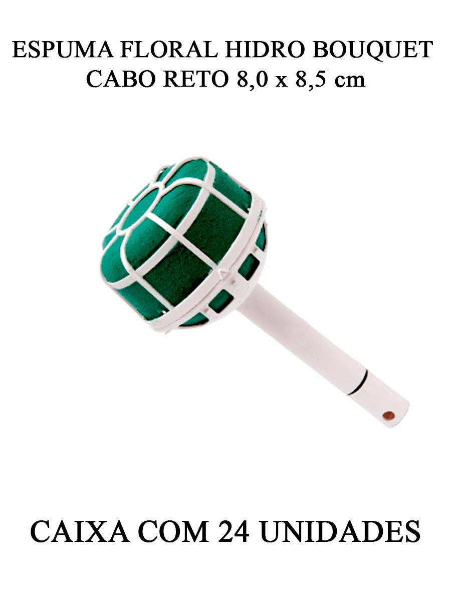 ESPUMA FLORAL LINHA NOIVA HIDRO BOUQUET CABO RETO 8,0 x 8,5 cm - CAIXA 24 UNIDADES