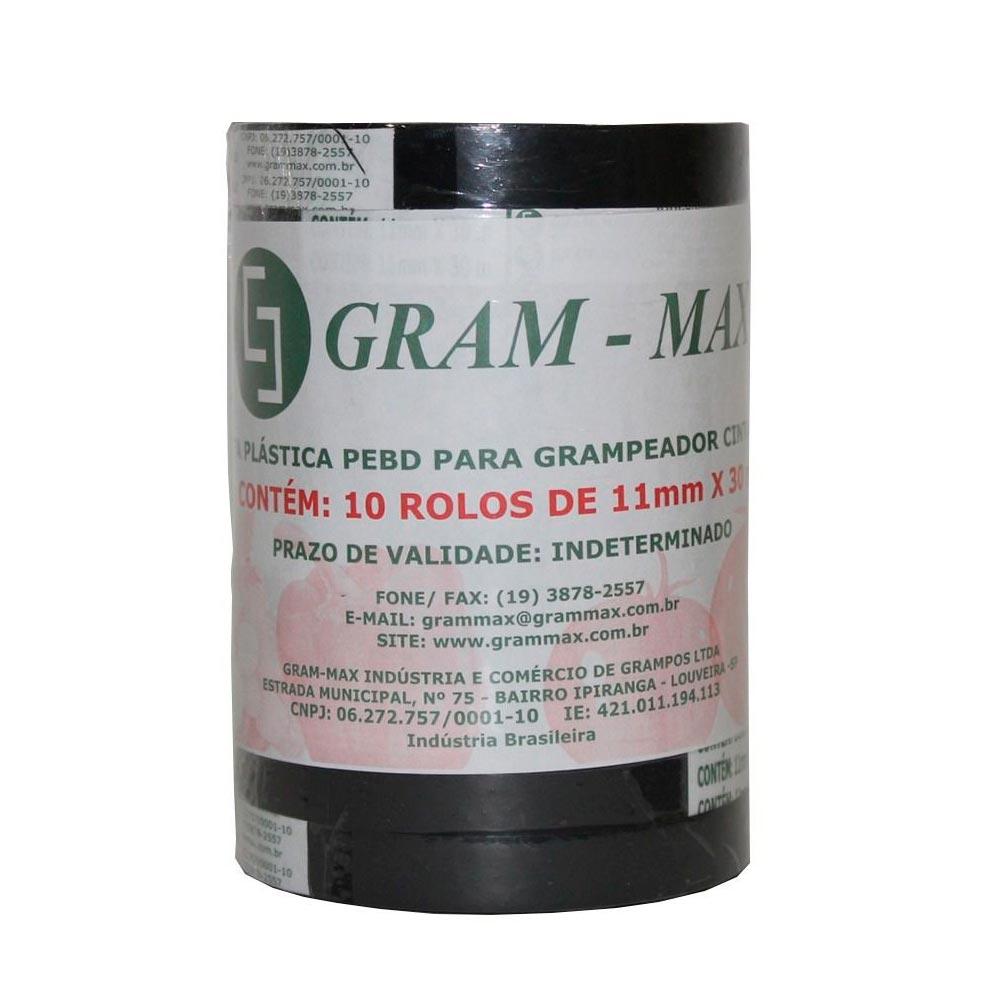 FITA PLÁSTICA RECICLADA CINZA ESCURO GRAM-MAX - 10 ROLOS
