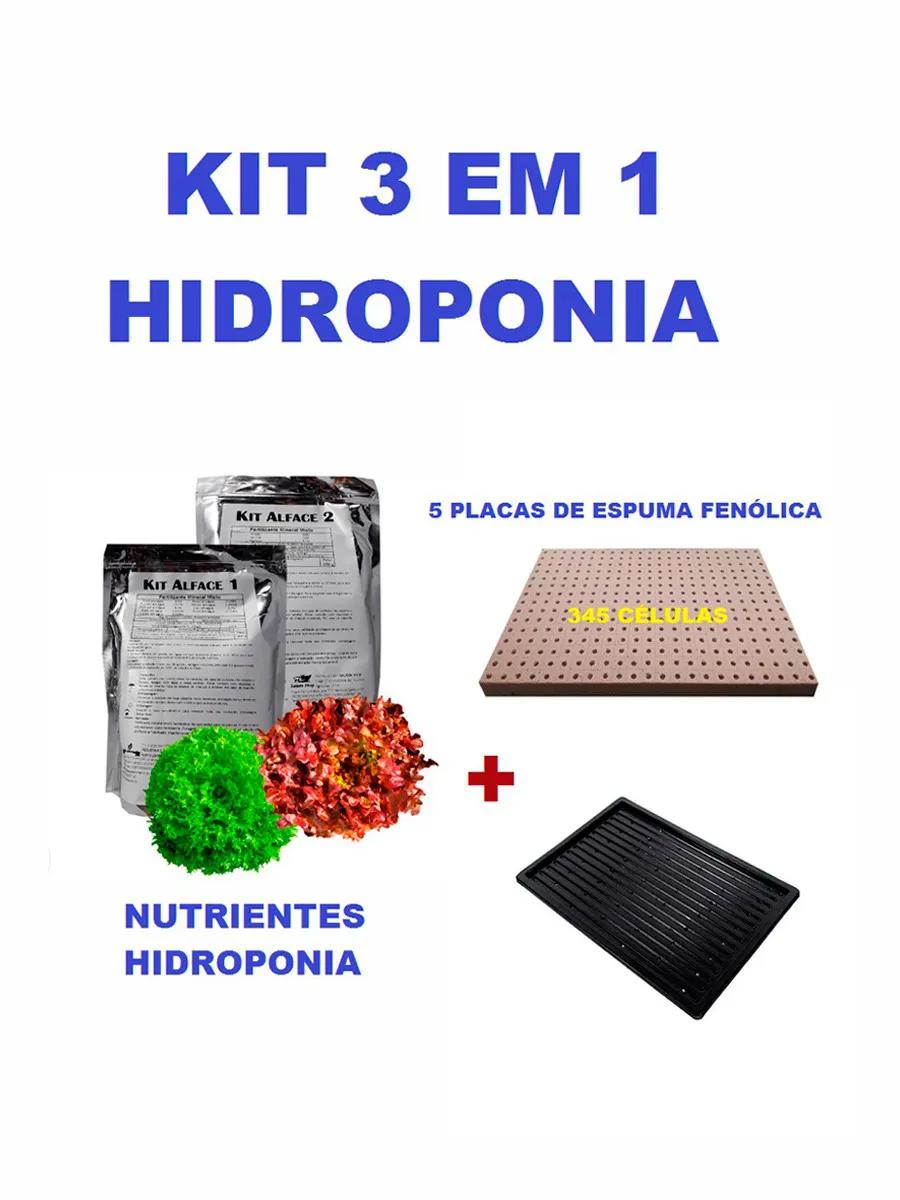 KIT ESPUMA FENÓLICA FURO ALFACE HORTICUBE  + NUTRIENTES E BANDEJA