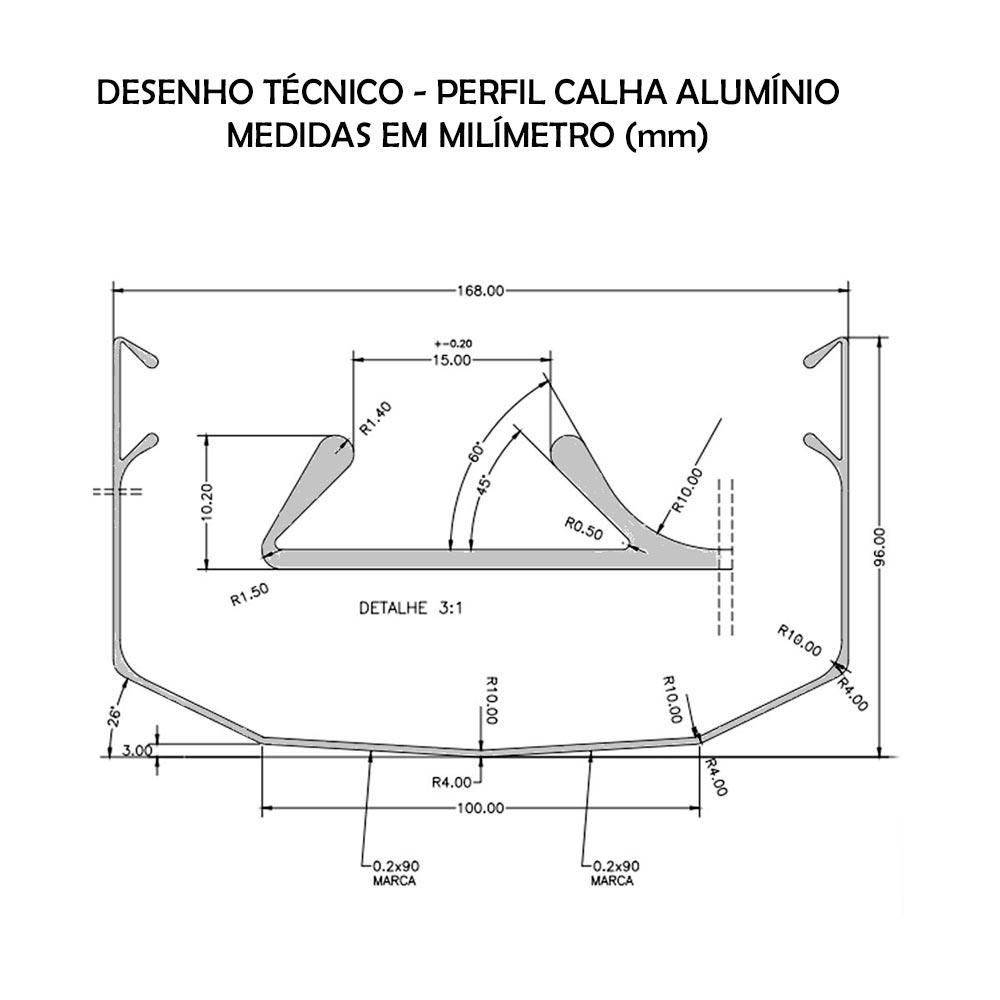 PERFIL CALHA ALUMÍNIO - 3 METROS